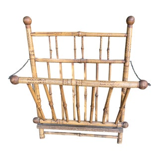 Antique Victorian Burnt Bamboo Magazine Holder For Sale