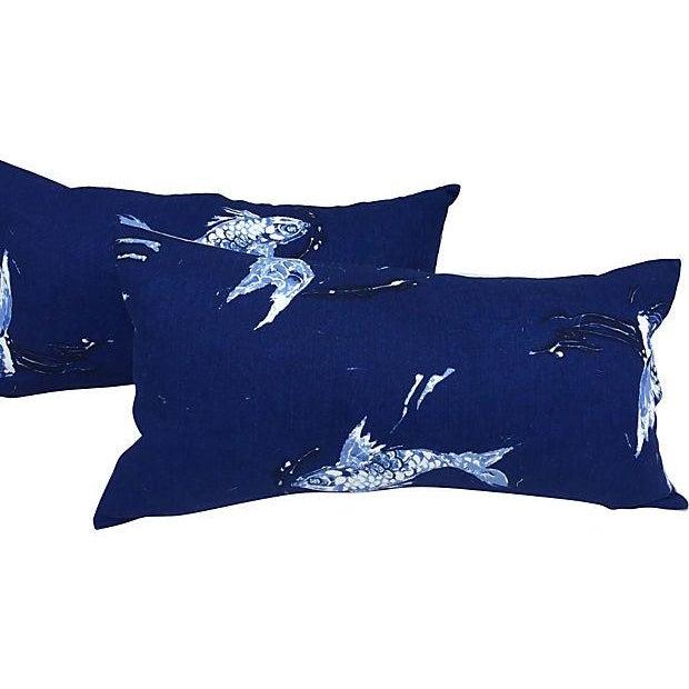 Ralph Lauren Indigo Koi Fish Pillows - A Pair - Image 1 of 7