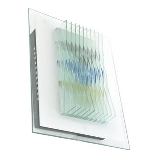 Pair of Italian Modern Glass and Painted Glass Wall Lights, Max Ingrand For Sale