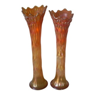 Vintage Carnival Glass Vases - a Pair For Sale