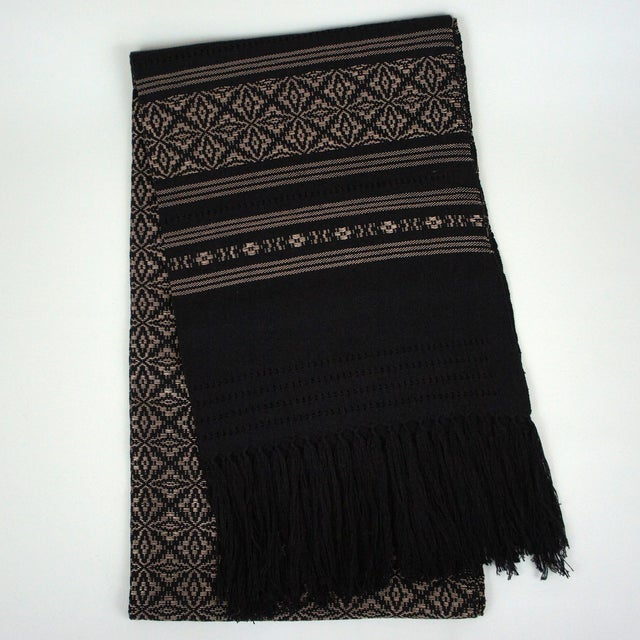 Oaxaca Handwoven Black Copper Tassel Table Runner - Image 2 of 3