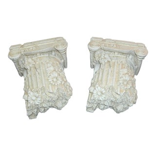 Greek Column Fragments With Daisies Drapery Rod Sconces - a Pair For Sale