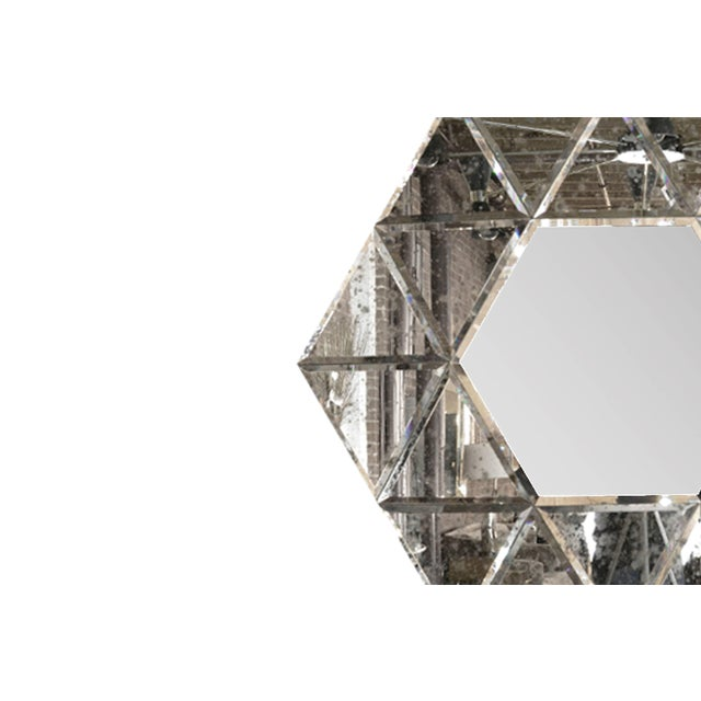 Mid 20th Century Large Hexagonal Antiqued Mirror For Sale - Image 5 of 8