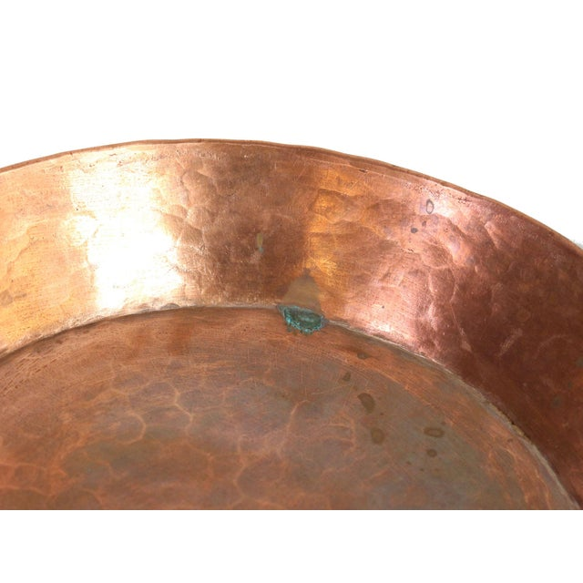 Antique 19th Century French Handmade Hammered Copper Double Handled Pan For Sale - Image 4 of 7