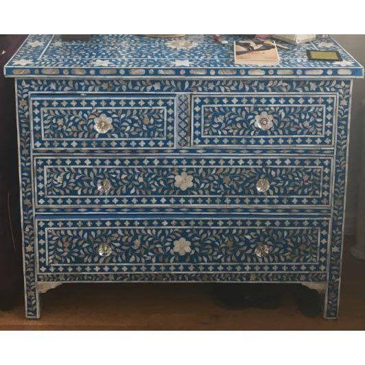 Mother of Pearl Inlay Blue Chest of Drawers - Image 2 of 4