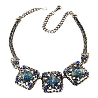 Selro Blue Glitter Lucite and Rhinestone Necklace Vintage 1950s For Sale