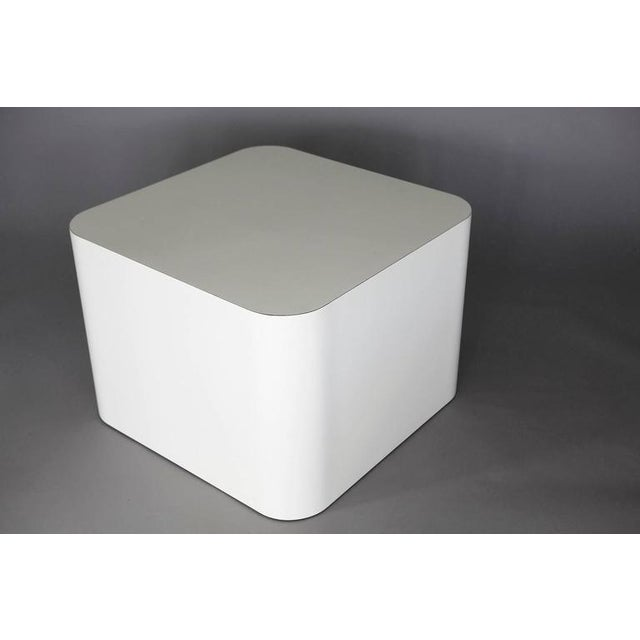 1980s Custom Made White Laminate Cubic End Table or Pedestal, Large For Sale - Image 5 of 8