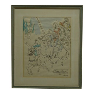 """Framed and Matted Original """"Caunterburg"""" Drawing / Sketch by Linda Whichello"""