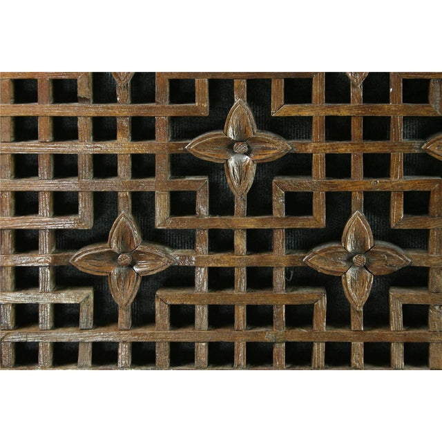 Antique Chinese Geometric Carved Window Screen - Image 7 of 7