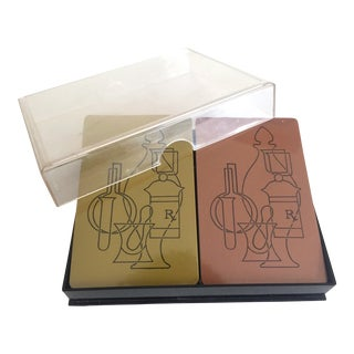 Vintage Mid-Century Modern Pharmacy Metallic Playing Cards Double Deck Boxed Set