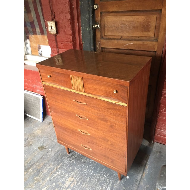 Authentic mid century (mcm) Bassett Furniture Co. high boy 4 drawer dresser. This dresser has been professionally...