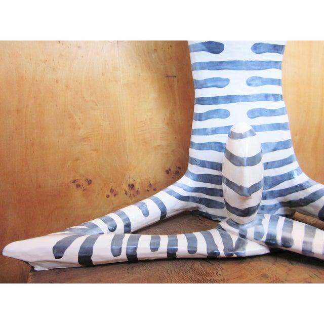 "Cornflower Blue Original Studio Art Postmodern Ceramic ""Acrobat"" Blue Striped Biomorphic Form Figural Sculpture by Jack Charney For Sale - Image 8 of 13"