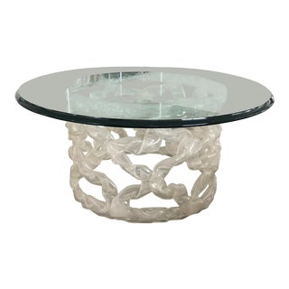 1970s Hollywood Regency Round Glass Reticulated Lucite Coffee Table For Sale