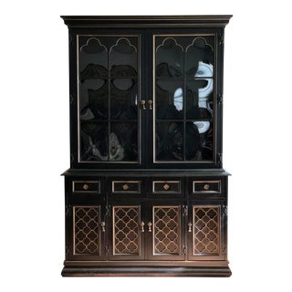 1970s Gothic Revival Bibliotheque/China Cabinet For Sale