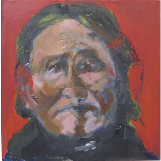 Larry Caveney Native American Indian Portrait Acrylic Painting For Sale
