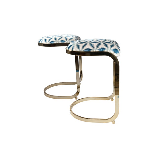 Mid-Century Modern Milo Baughman Counter Stools - a Pair For Sale - Image 3 of 4