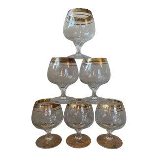 Vintage Crystal Snifter Glasses With Gold Rim - Set of 6 For Sale