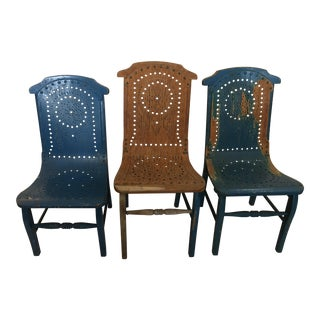 Antique Folk Art Children Chairs - Set of 3
