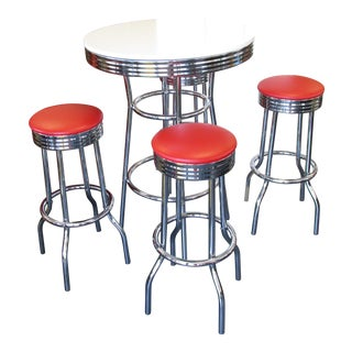 Contemporary Round Table With Chrome Pedestal With Red Stools Dining Set For Sale