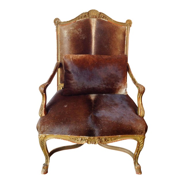 Gilded Hide Arm Chair - Image 1 of 7