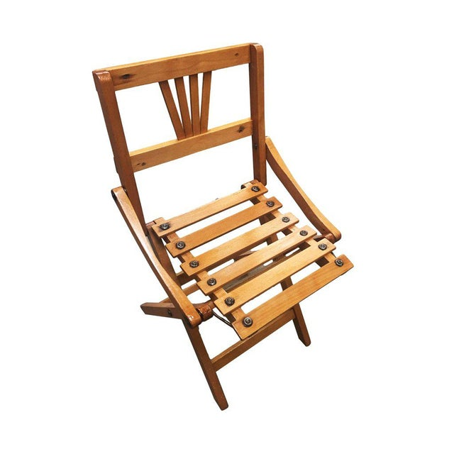 Mid-Century children's folding slat wood chair, set of two.
