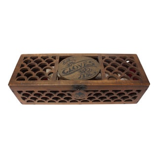 Victorian Carved Glove Box With Gloves For Sale