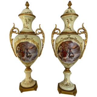 French Porcelain Sevres Scenic Vases Each Signed Redly. Belle Époque Style For Sale