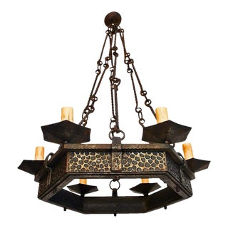 French 1930s Hands Hammered Wrought Iron Chandelier For Sale