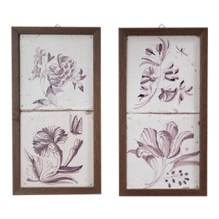 Framed Antique 18th Century Delft Manganese Floral Tiles- a Pair For Sale