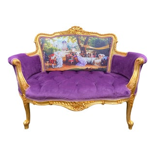 French Louis XVI Style Settee in Purple Velvet and Gobelin For Sale