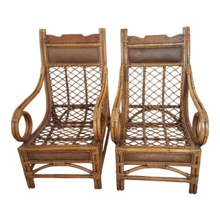 Vintage Mid Century Boho Chic Wood Bamboo and Rattan Scoop Lounge Chairs - a Pair For Sale