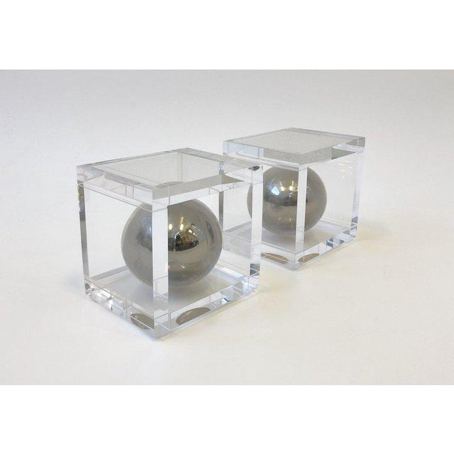 Pair of Lucite and Chrome Bookends by Charles Hollis Jones For Sale In Palm Springs - Image 6 of 7