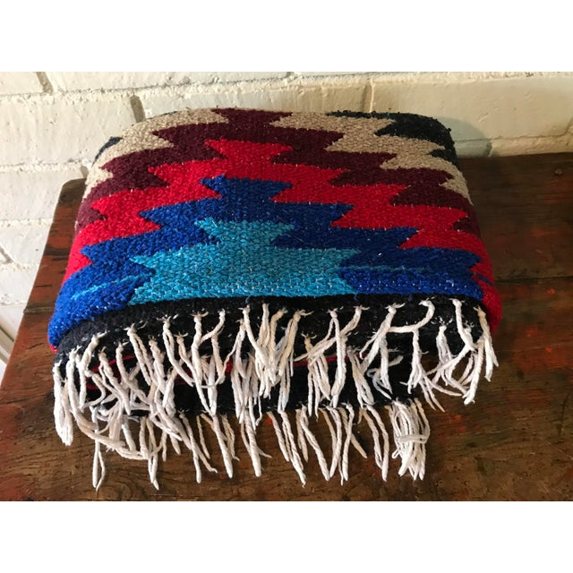 Blue Navajo Style Red Blue Gray Woven Cotton Throw Blanket For Sale - Image 8 of 8