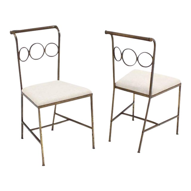 Set of Six Rare Brass Dining Side Chairs in Style of Jean Royère For Sale