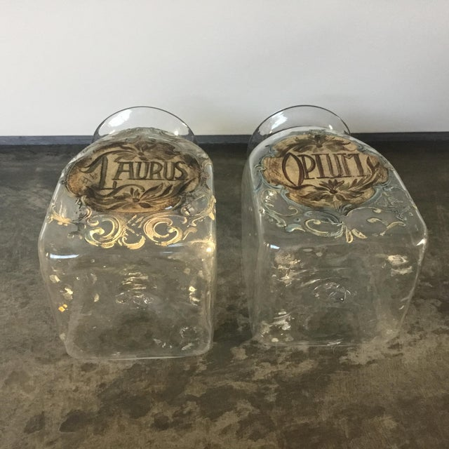 Glass 1920s Italian Hand Painted Blown Glass Jars - a Pair For Sale - Image 7 of 9