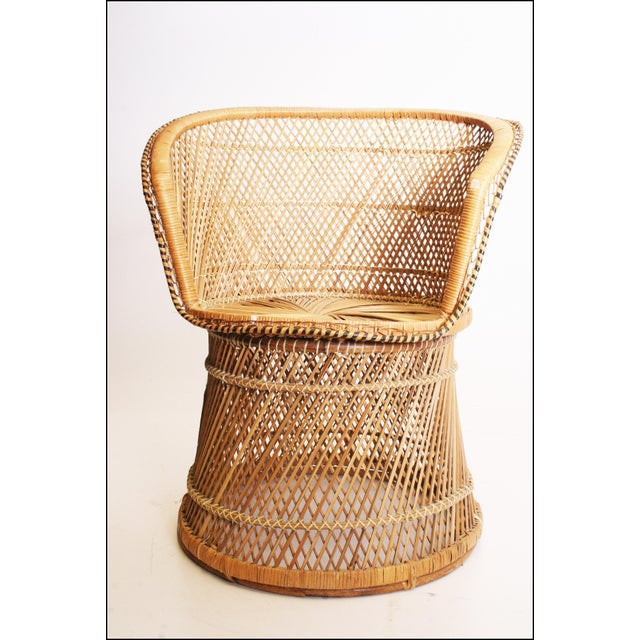 Tan Vintage Boho Chic Wicker Barrel Chair For Sale - Image 8 of 11