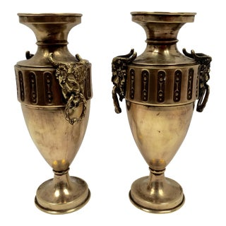 Antique French Brass Horned God Figurehead Urns - A Pair