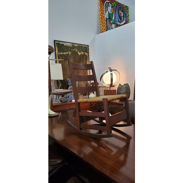 Gustav Stickely Early Arts & Crafts Mission Oak Youth Rocker Chair For Sale - Image 12 of 13