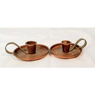 Pair of Vintage Coppercraft Guild Taunton Mass Copper Candlestick Holders Preview