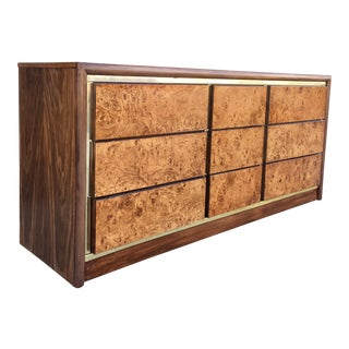 Bassett 9-Drawer Dresser With Burlwood Drawers For Sale