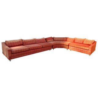 Vintage Mid Century Orange Sectional Sofa For Sale