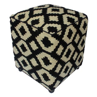 Arshs Doloris Black/Ivory Kilim Upholstered Handmade Ottoman For Sale