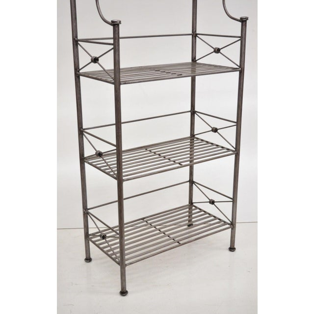 Pier 1 Medici Collection Pewter Iron Bakers Rack Shelf / Bathroom Stand Etagere For Sale - Image 4 of 11