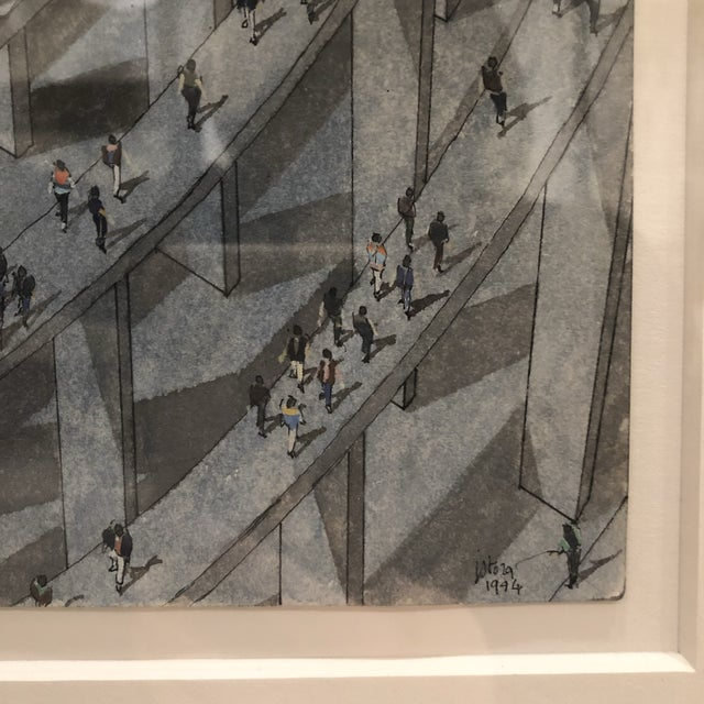 Original watercolor and gouache painting of crowd scene on paper by Jean Pierre Stora (1933-1996), signed and dated -...