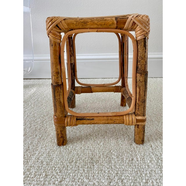 Vintage Bamboo Rattan Plant Stand/Table Riser For Sale - Image 4 of 8