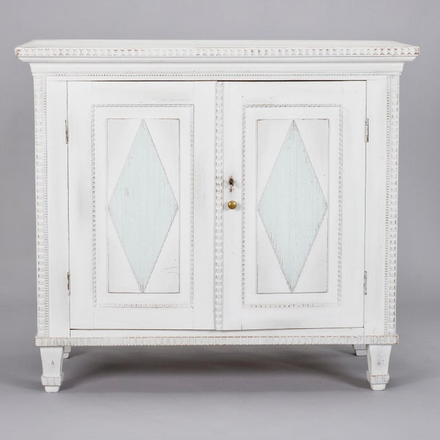 White Swedish Two-Door Cabinet with Fluted Diamond Front For Sale - Image 8 of 8