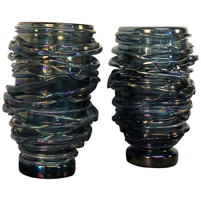 Mid 20th Century 20th Century Bleu Fonce Murano Glass Vases by Pino Signoretto - a Pair For Sale - Image 5 of 5