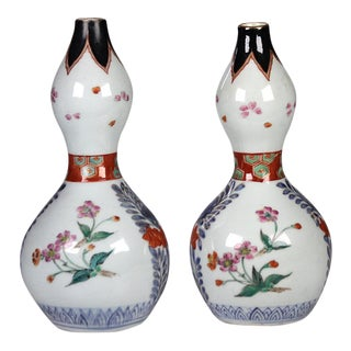 Mid 19th Century Japanese Imari Enameled Porcelain Double Gourd Vases - a Pair For Sale