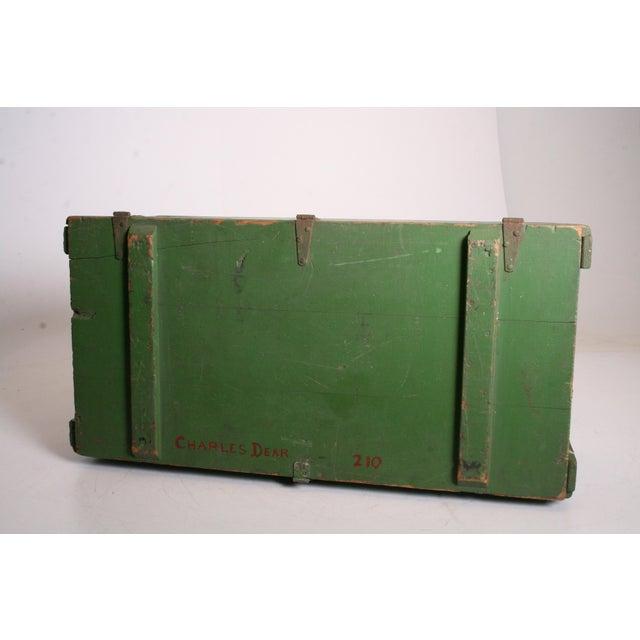 Vintage Military Green Wood Foot Locker - Image 9 of 11