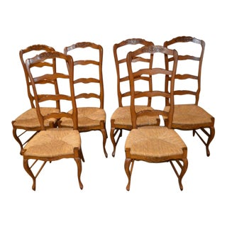 Vintage Country French Style Ladder Back Rush Seat Dining Chairs - Set of 6